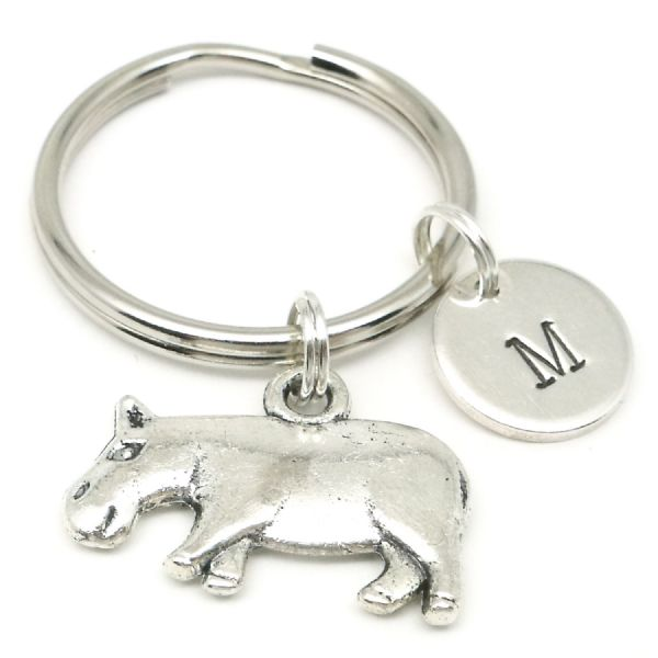 Hippo charm keyring gift personalised with initial